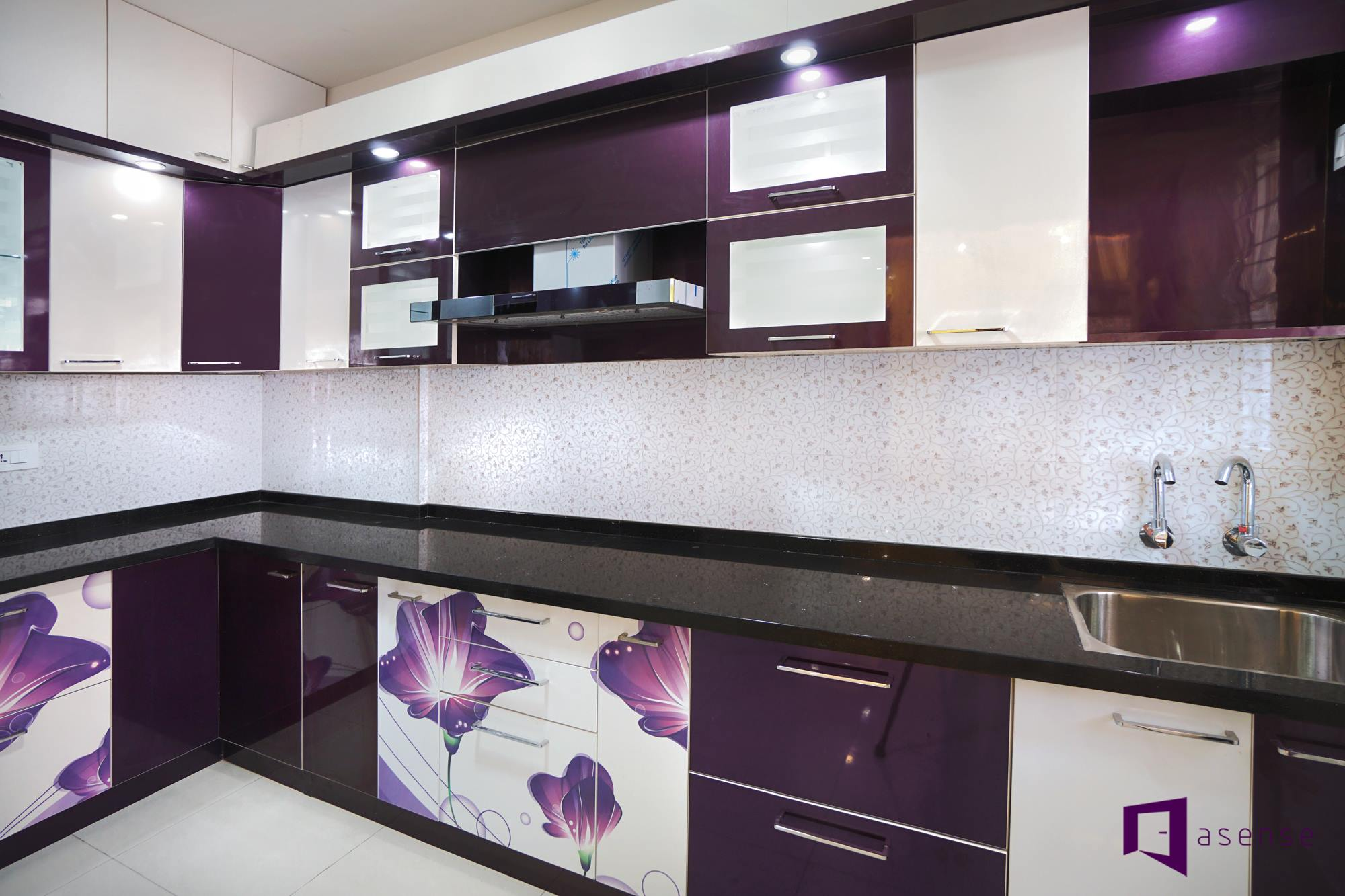 Purple And White Themed Modular Kitchen With Floral Prints by ...